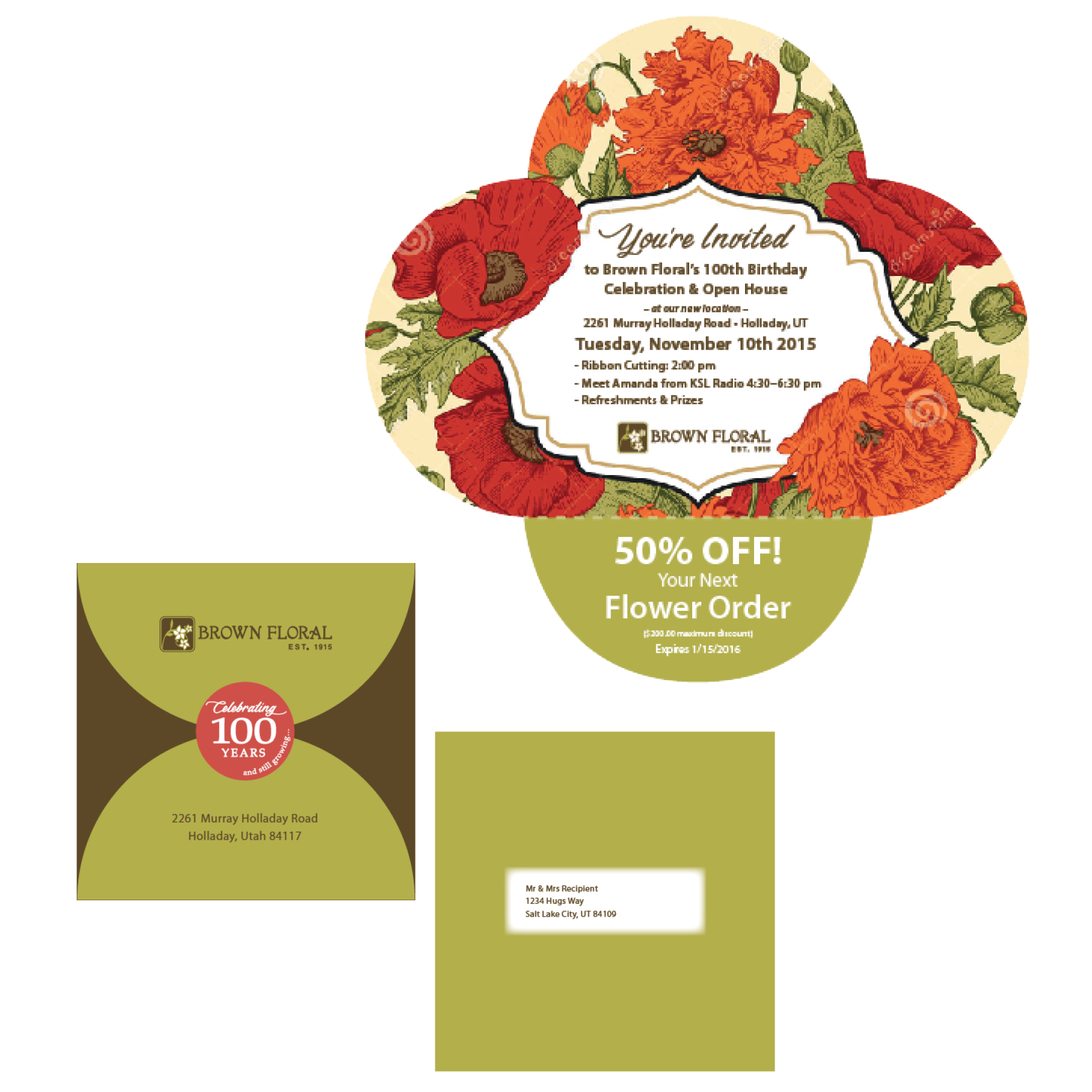 Brown Floral Self-Mailer Designed by EXPAND